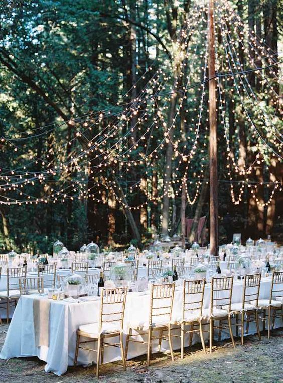 hang string lights as a canopy over the reception