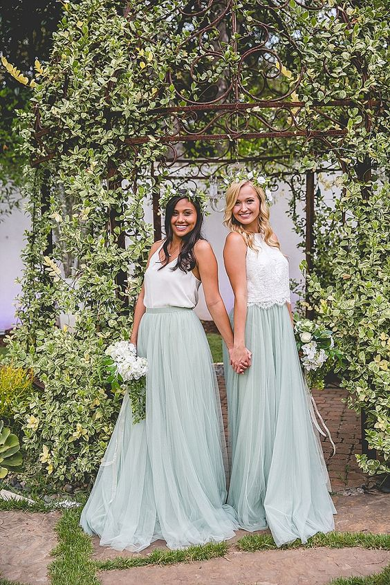 white and mint separates with plain and lace tops and flowy layered tulle maxi skirts