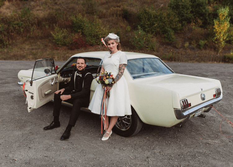 The couple got a vintage car for the getaway, so it perfectly polished their leaving