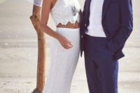 09 a boho lace bridal spearate with a halter neckline is a good option for heat