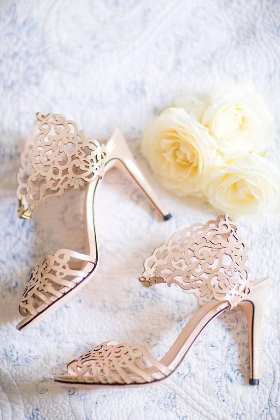 gold laser cut strappy wedding shoes