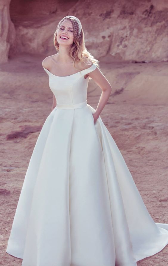 plain off the shoulder A line wedding dress with pockets