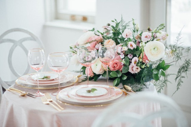 the plates and platters and even the glasses were pink to perfectly match the scheme