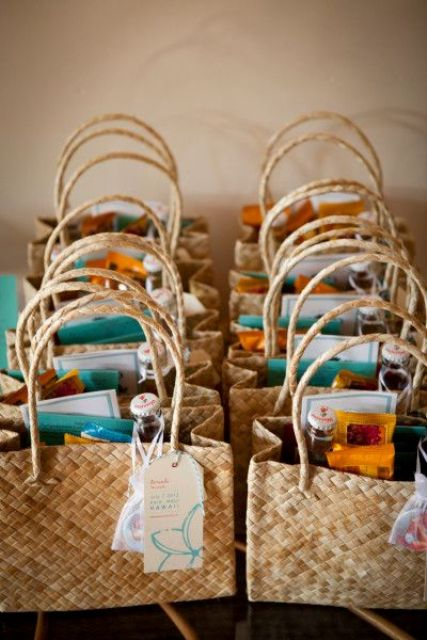 wicker welcome bags can be easily reused and look really nice