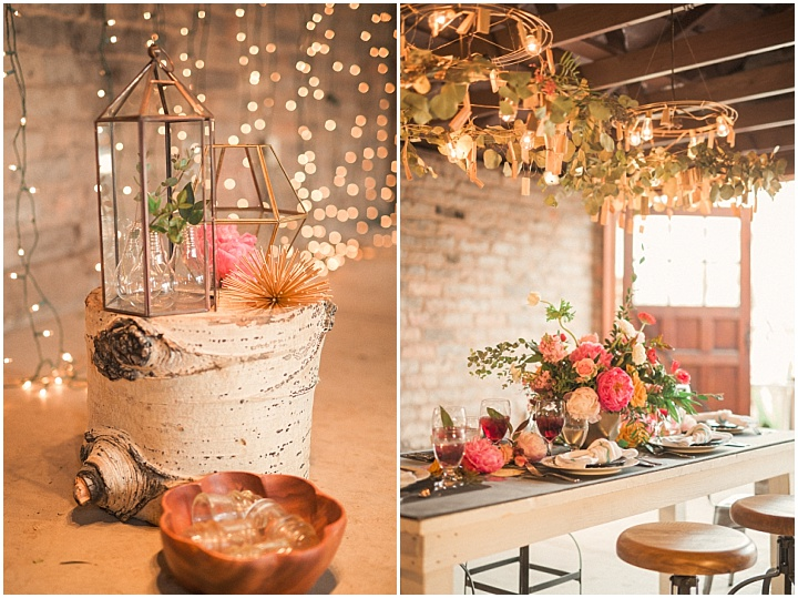 Rustic decor like a wooden log and leaf-covered chandeliers were incorporated
