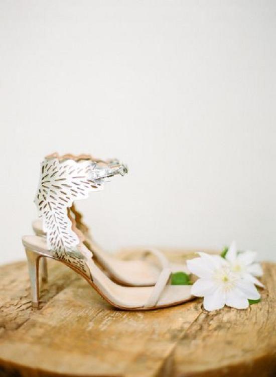 elegant laser cut low heels with leafy decor