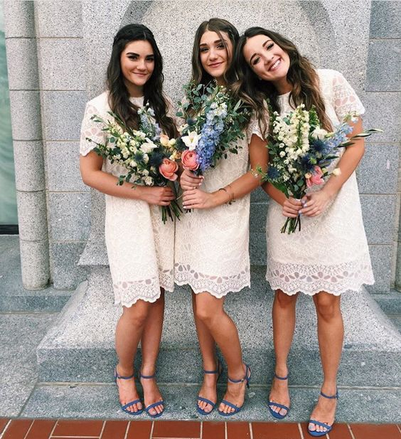 lace short sleeve bridesmaids' gowns with blue heeled sandals