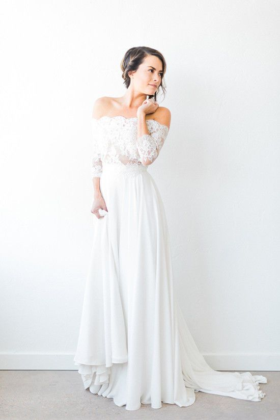 off the shoulder wedding dress with a lace bodice and a plain skirt is a super trendy piece