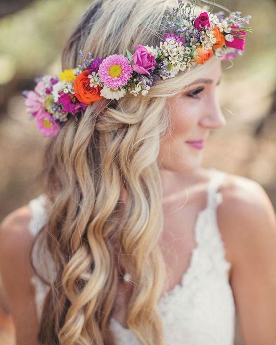 pink, orange, yellow and white floral crown for a boho or garden bride
