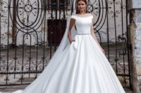 10 pure white off the shoulder ballgown with a train, an embellished sash and pockets