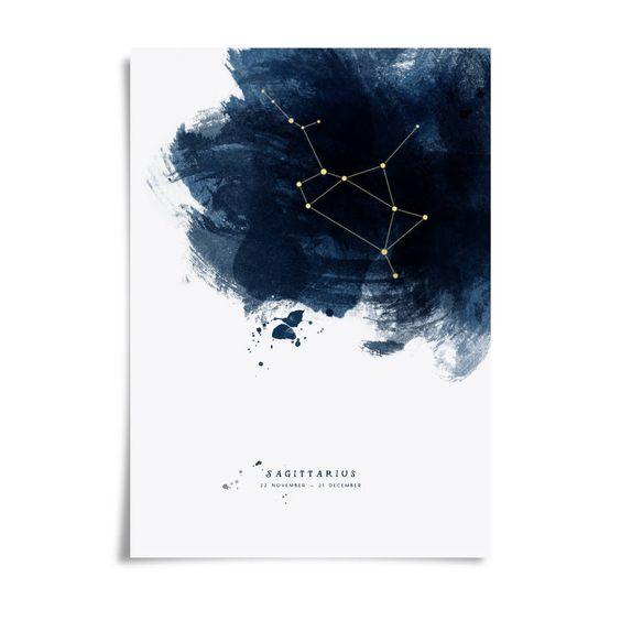 watercolor navy and white zodiac starsign constellation invites