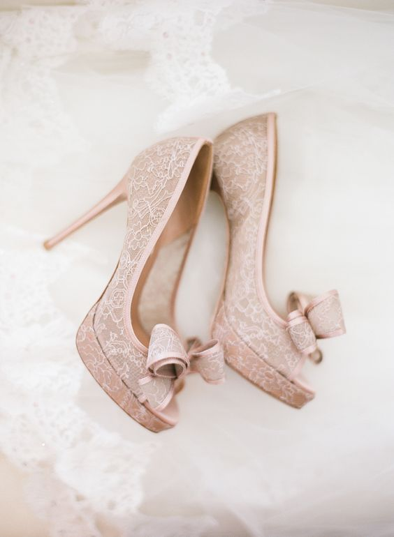 blush lace peep toe heels with bows on the toecap