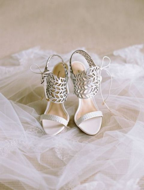creamy wedding sandals with leaf laser cut decor