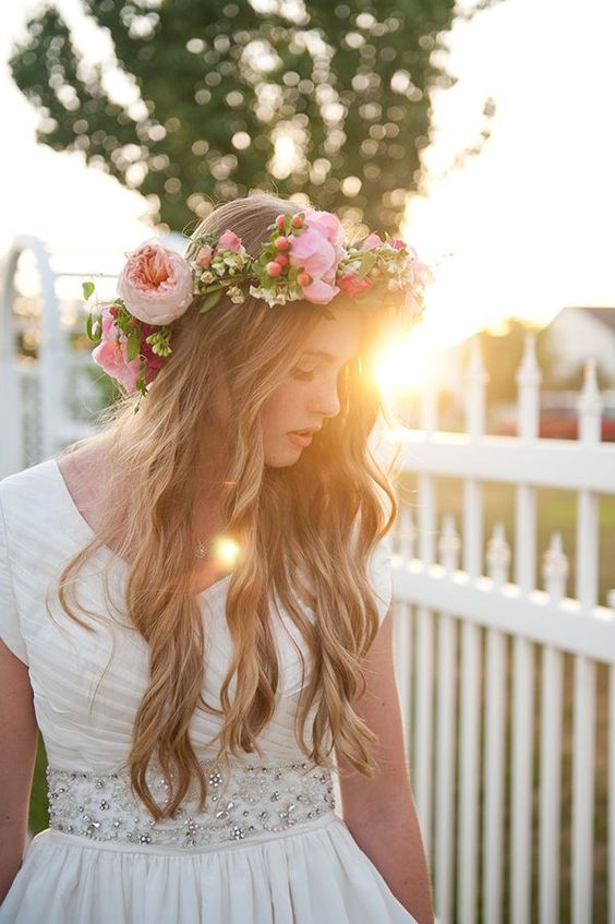 peach and pink flower crown with berries and small blooms