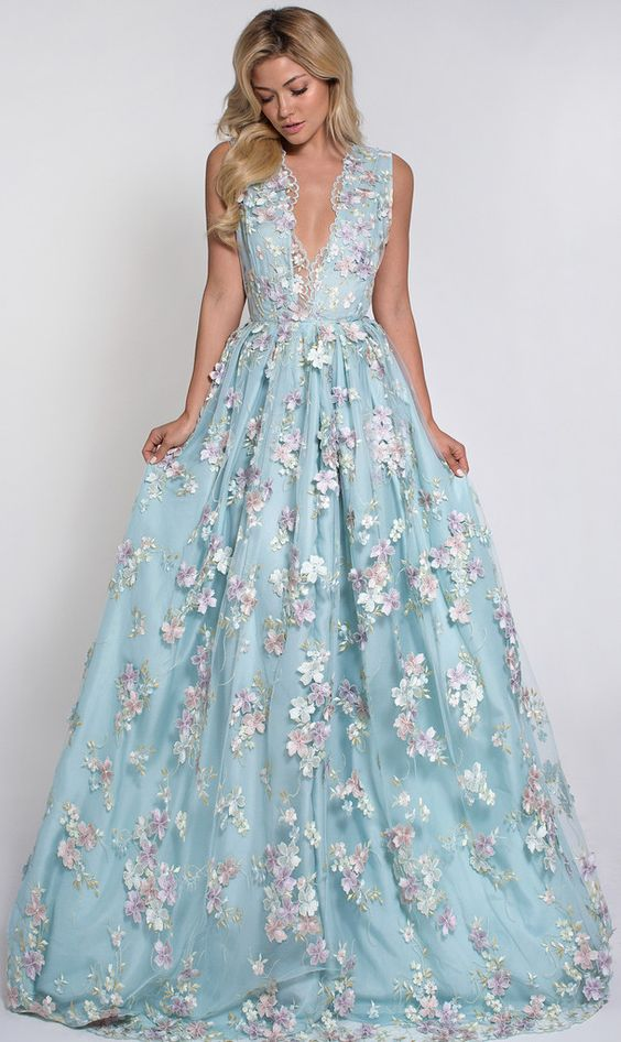 powder blue plunging neckline wedding dress with pink floral appliques