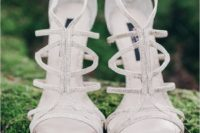 11 silver strappy heeled wedding sandals looks shiny and chic