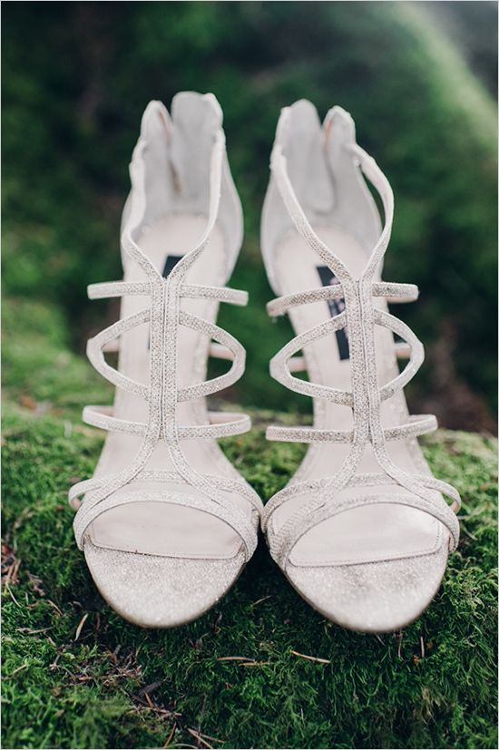 silver strappy heeled wedding sandals looks shiny and chic