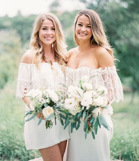 white off the shoulder mix and match dresses with crochet lace