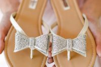 12 beaded bow wedding sandals