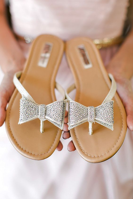 beaded bow wedding sandals