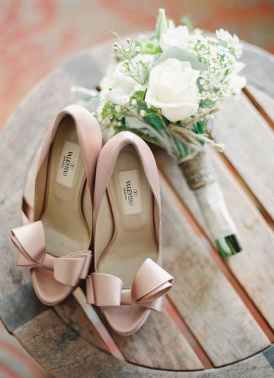 blush Valentino peep toe shoes with large bows