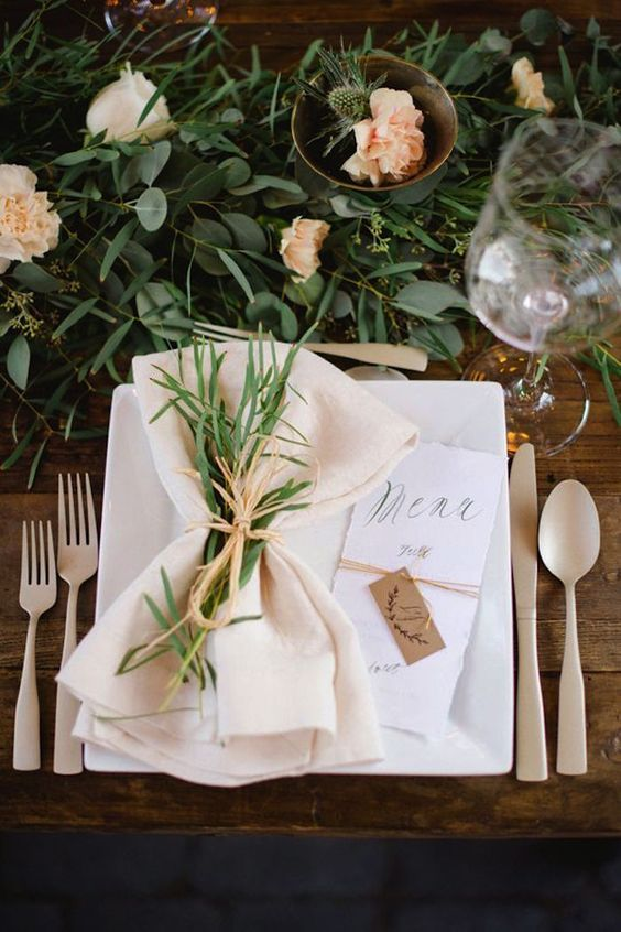 eucalyptus table runner with blush blooms and thistle