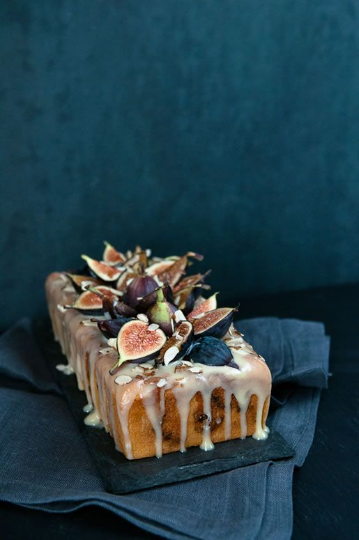 fig almond tea cake with coconut-honey glaze and figs on top