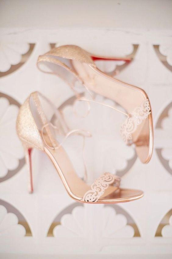 gilded heel sandals with laser cut detailing