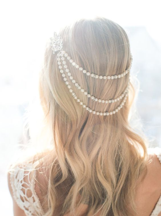 romantic pearl hair chain is a true statement piece for the vintage inspired wedding
