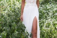 12 textural lace off the shoulder wedding dress with a front slit is a cool idea for heat