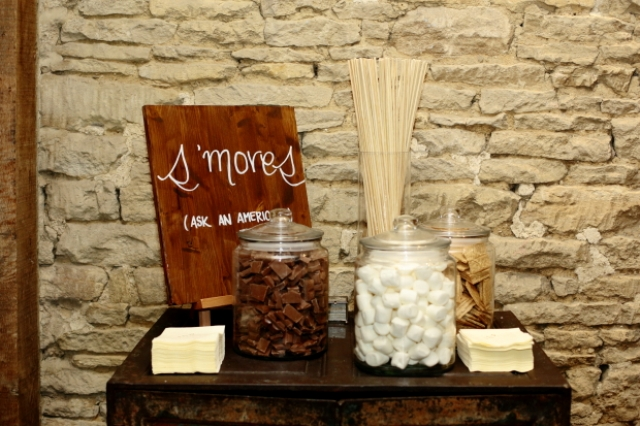 An s'mores station was created especially for American guests