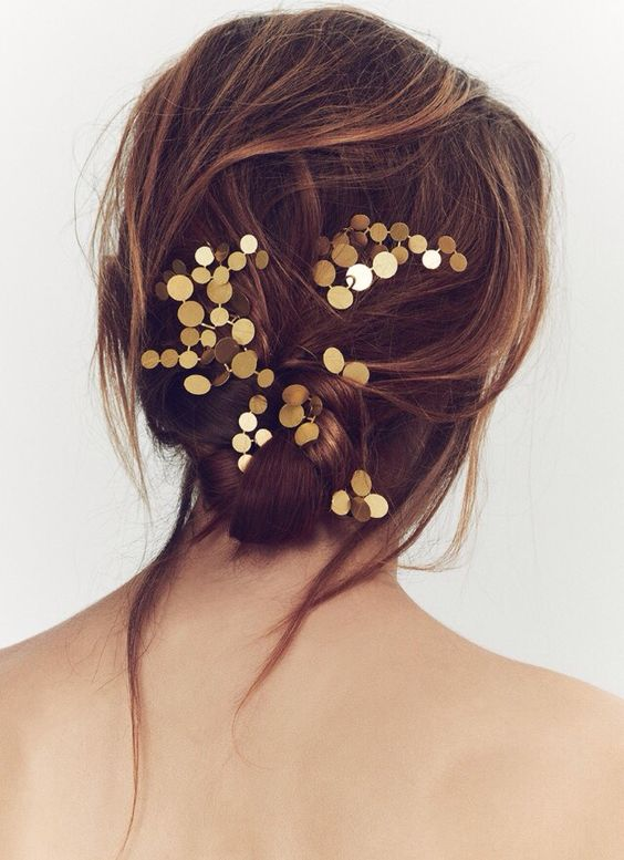 constellation brass pins for bridal and bridesmaids' hairstyles