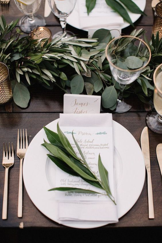 eucalyptus and olive branch table runner and place setting decor