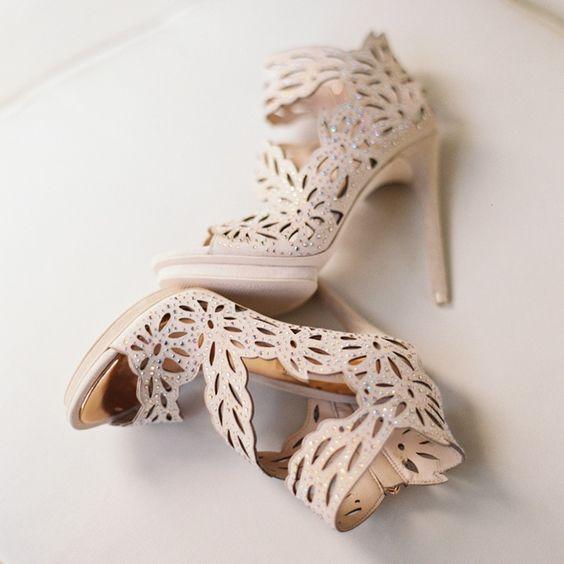 nude laser cut wedding heels with rhinestones