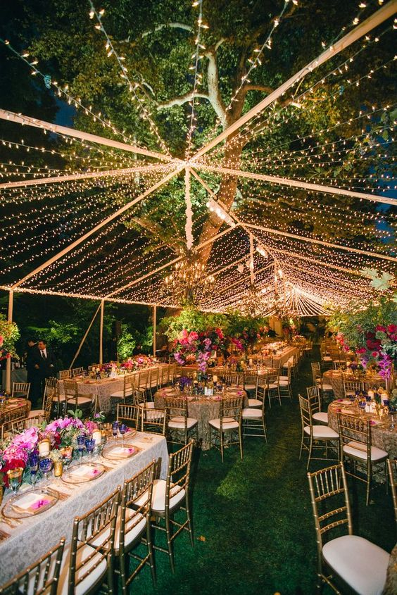 string lights attached over the reception as a tent look chic