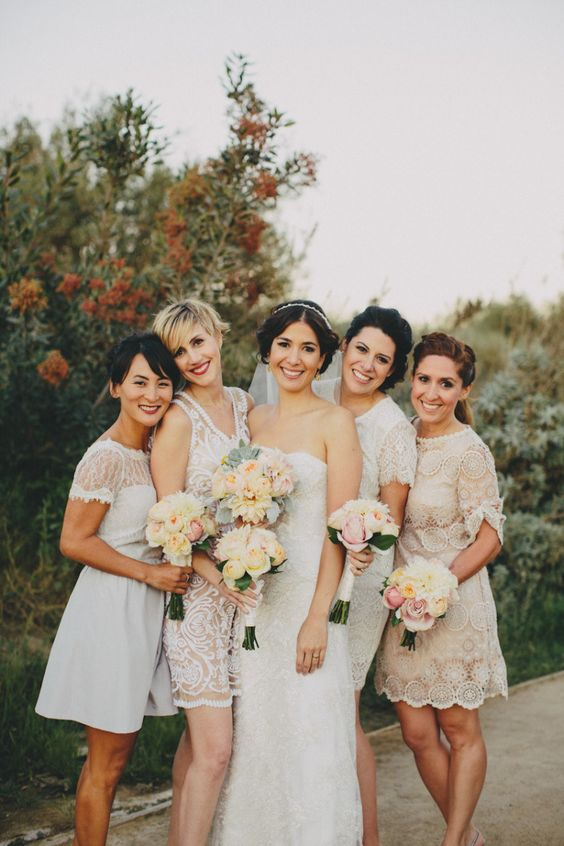 white boho lace mix and match short bridesmaids' gowns