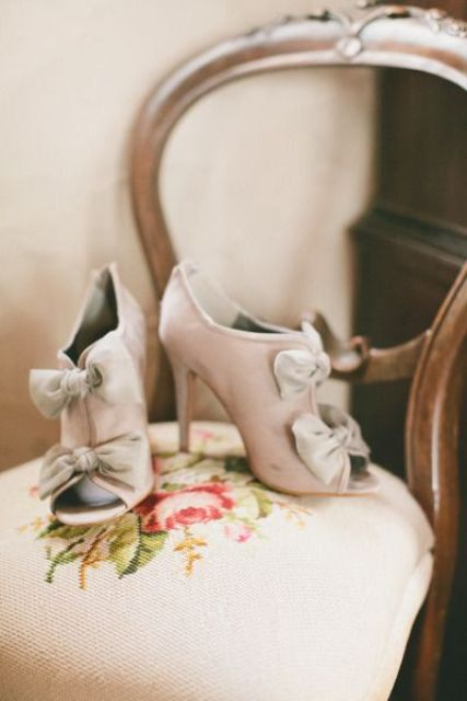 chic blush booties with peep toes with grey bows for decor