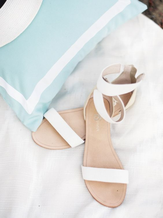 creamy ankle strap wedding sandals