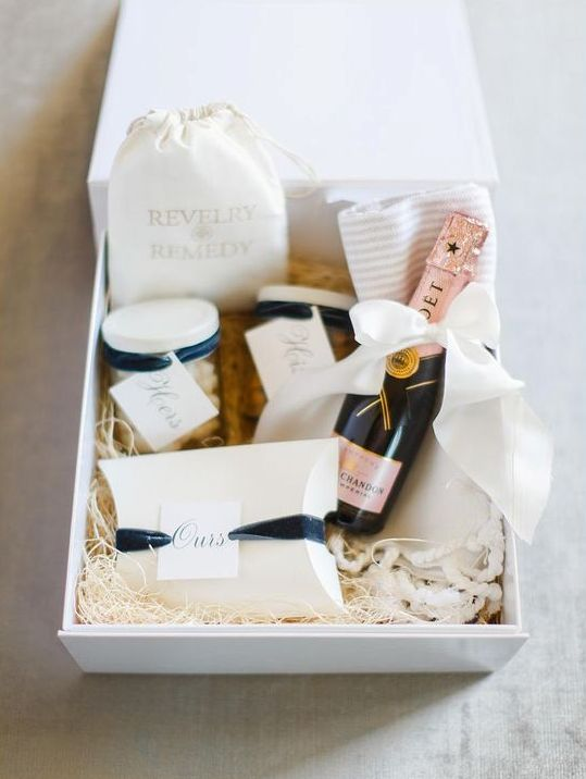 include the bride's favorite snack and you two's favorite one with matching labels