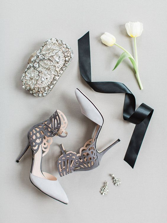 modern suede grey and white laser cut shoes