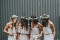 14 neutral maxi dresses, V-neck strap ones and an off the shoulder for the maid of honor