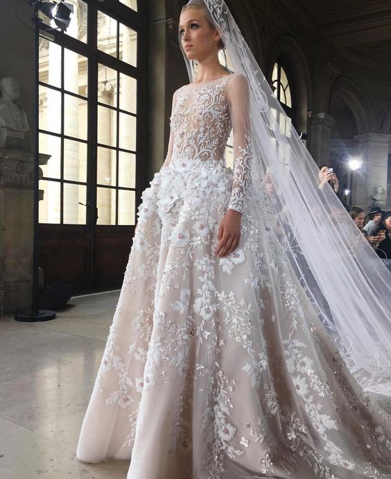 romantic ballgown with elegant illusion sleeves and 3D floral appliques all over