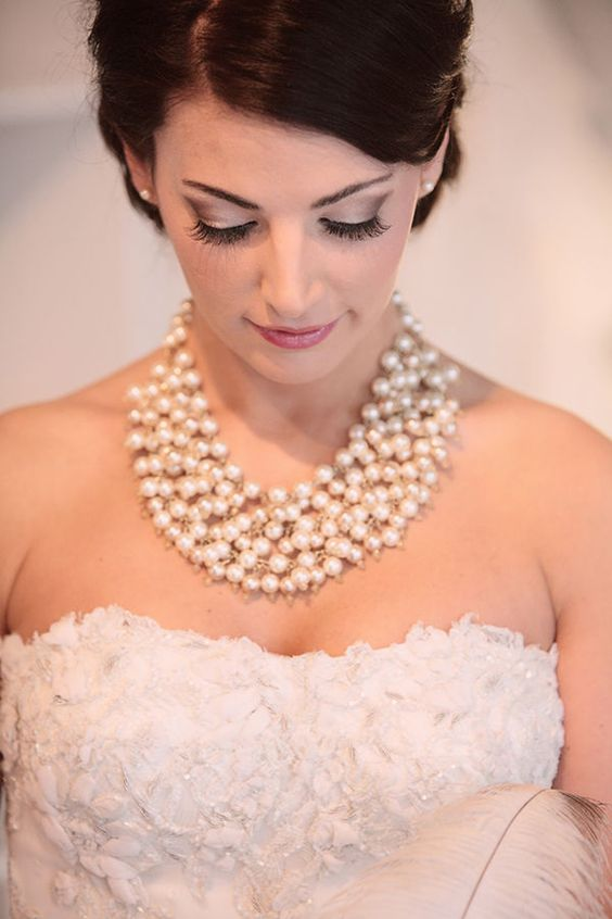 white pearl strands for an elegant and classic look