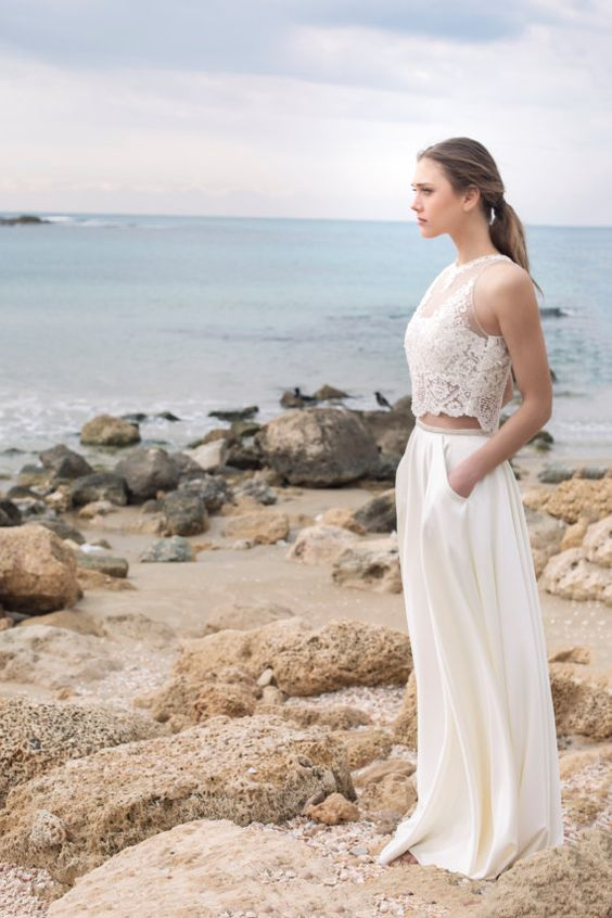a bridal separate with an illsuion lace top and a plain skirt with pockets