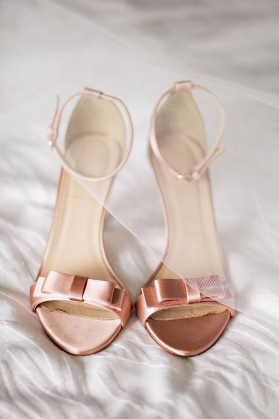 copper heeled sandals with accurate bows