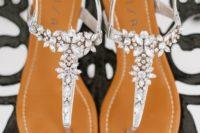 15 crystal flower silver strap sandals for a garden or bloom-filled wedding