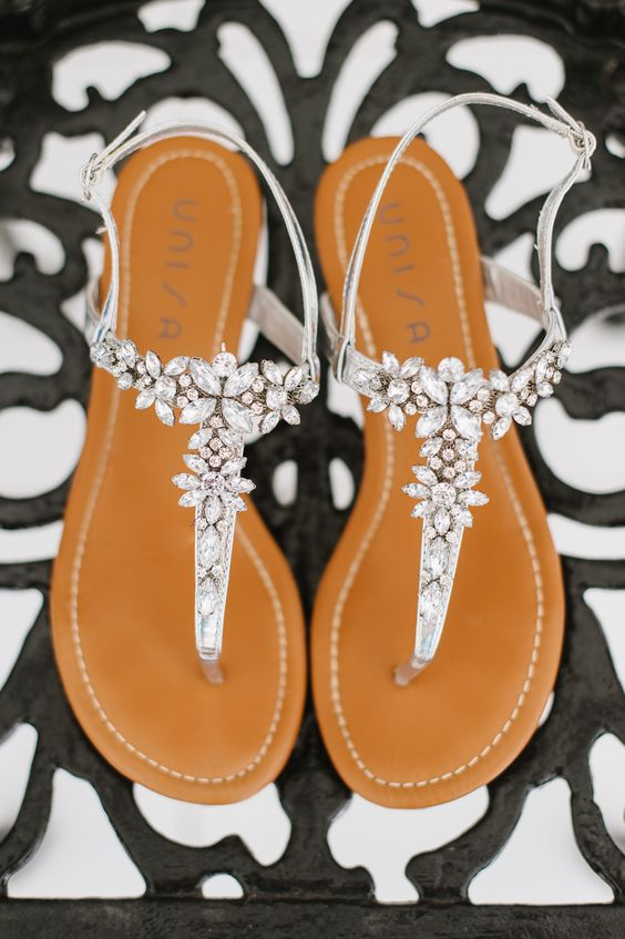 crystal flower silver strap sandals for a garden or bloom-filled wedding