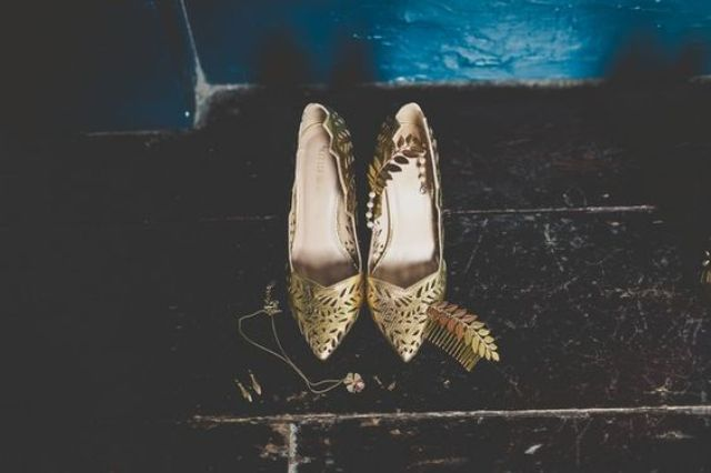 metallic gold laser cut wedding shoes with a leafy pattern