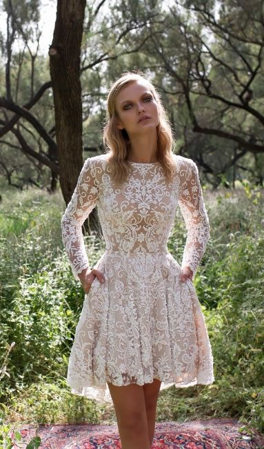 short lace applique wedding dress with long sleeves and pockets