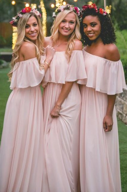 simple flowy off the shoulder bridesmaids' dresses in pink will be a trendy and chic idea